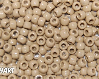 Khaki Opaque 6x9 mm Barrel Pony Beads