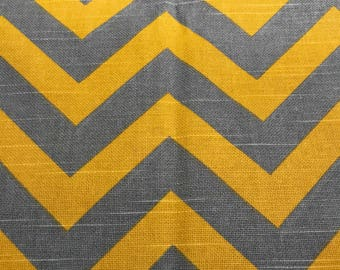 Gray and Corn Yellow Chevron Slub Fabric 1.75 yards