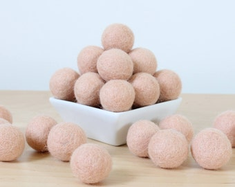 Felt Balls: SOFT PEACH, Felted Balls, DIY Garland Kit, Wool Felt Balls, Felt Pom Pom, Handmade Felt Balls, Pink Felt Balls, Peach Pom Poms