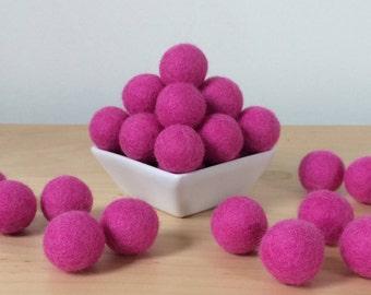 Felt Balls: FUCHSIA, Felted Balls, DIY Garland Kit, Wool Felt Balls, Felt Pom Pom, Handmade Felt Balls, Purple Felt Balls, Purple Pom Poms