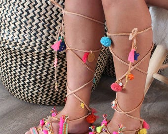 Lace Up Sandals. Pom Pom Gladiators. Greek leather sandals. Tie up Gladiators. Lace up gladiators. Beach sandals. Fashion Sandals