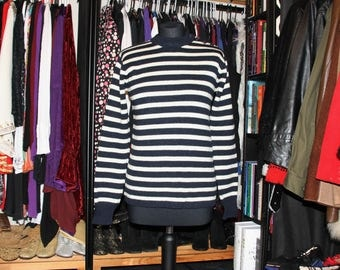 Hello Sailor!-60's Navy and White Striped Wool Nautical Jumper/Sweater