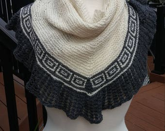 Knit  Shawl with block details- Cream and Gray