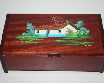 Vintage Wooden Treasure or Jewelry Box Hand Painted Costa Rica Souvenir Box/Flip Top Painted Wooden Box/House and Garden Pictoral Box