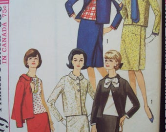 Misses Suit, Blouse, Scarf and Detachable Cuffs 1960s Simplicity Pattern 5665 Size 16 Bust 36""