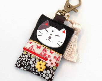 kawaii cat bag charm, Japanese cat gifts, cat zipper charm, kawaii teen gift, tassel cat charm, cute kawaii purse charm, Japanese kawaii, UK
