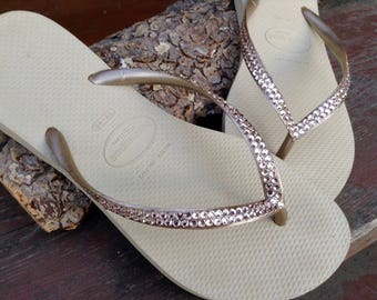 Beige Ivory Sand Gray Gold Havaianas Slim Flip Flops Custom Crystal flat Silk Bling w/ Swarovski Rhinestone Jewels Beach Thong Wedding Shoes
