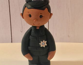 Polymer clay police ornament,collectors item,handmade,Christmas gifts