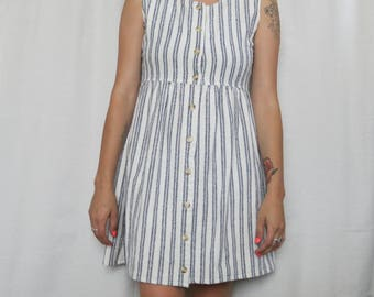 Blue and White Striped Vintage Silk Button Down Sundress