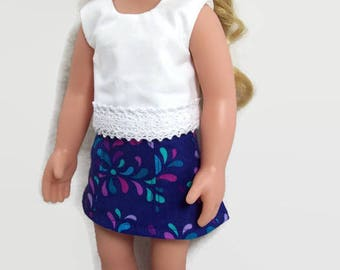 Indigo Panel Skirt and White Top - Made to Fit 14.5 Inch Dolls Like Wellie Wisher Doll Clothes