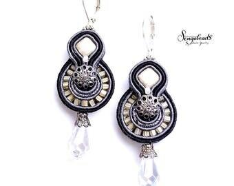 Soutache earrings. Black earrings. Handmade earrings. Soutache jewelry. Swarovski earrings. Gift for her. Crystal earrings. Dangle earrings.