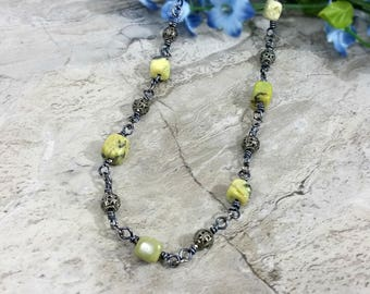 Yellow Turquoise Necklace, Turquoise Bead Necklace, Simple Turquoise Jewelry, Gunmetal Necklace, Boho Chic Style, Gift for Her