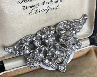 vintage rhinestone dress clip art deco silver toned clear classic jewelry