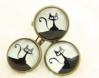 Earrings and ring little black cat 1616