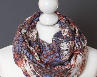 Snood en tissu bleu jean rouge // écharpe circulaire // Let it snood // FRAIS de PORT OFFERTS