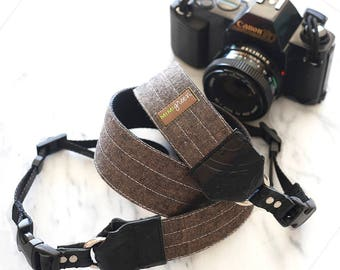 Chocolate Brown Linen Camera Strap in Charcoal with Side Release Buckles -- 1.5 inches wide