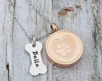 Cremation Necklace - Personalized - Jewelry - Ashes - Urn - Sympathy Gift - Pet Memorial - Dog - Bone- Paw Print - Rose Gold - Mixed Metal