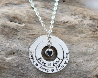 Mom Necklace | Gift for Mom | Imprinted Heart | Mom Heart Necklace | Sterling Silver | Mom Jewelry | Great Grandma Gift | Christmas gift