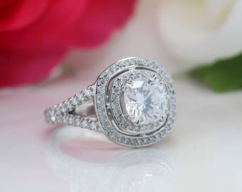 Cushion Cut Moissanite Engagement Ring Double Diamond Halo Forever One Center