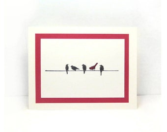 Set of 5 Bird Cards, Blank Card, Blank Greeting Cards, All Occasion Cards, Note Card, Any Occasion Card, Birds on a Wire, Nature Card