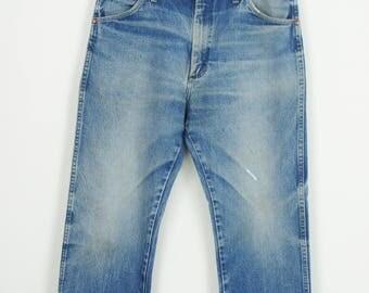 Vintage Wrangler Cowboy Indigo Denim Jeans size 34 x 27 1/2 Perfectly Faded and Frayed
