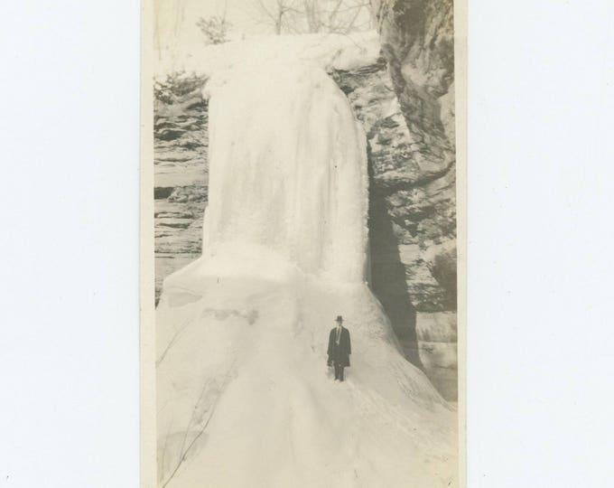 Frozen Waterfall: Vintage Snapshot Photo (712626)