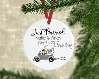 Just Married • Newlywed • Christmas Ornament