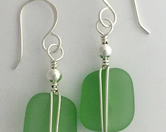 Sterling Silver and Green Sea Glass, wire wrapped