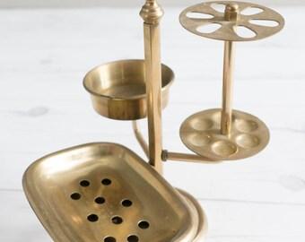 Vintage Brass Bathroom Caddy Toothbrush Holder