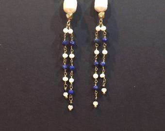 Pearl dangle earrings - Pearl earrings dangle - Pearl earrings - Long dangle pearl earrings - Pearl tassel earrings