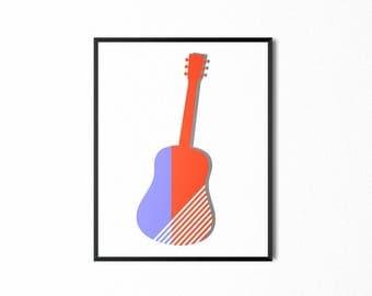 Guitar Printable, Wall Art, Art Print, Art for Kids, Music Print