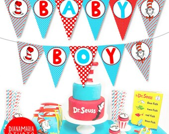 Boy Baby Shower Banner   Printable Dr Seuss Decorations Baby Shower  Cat In  The Hat