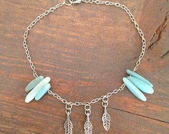 The Warrior. An Amazonite and Feather Anklet