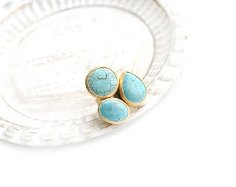 Triple Adjustable Turquoise Stone Gold Plated Ring