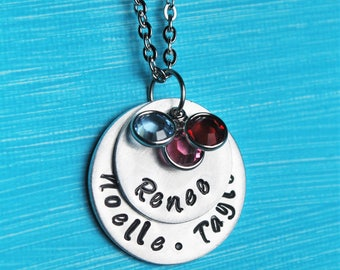 Personalized Mommy Necklace, Mother's Necklace, Hand Stamped Name Necklace, Birthstone Necklace, Gift for Mom