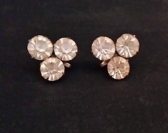 Vintage Rhinestone Earrings Screw Post