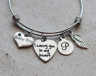 Baby Boy - I Carry You in my Heart Memorial Bracelet - Child Loss Gifts, Gifts for Child Loss, Baby Loss Remembrance, Child Loss Keepsakes