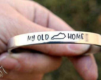 My Old Kentucky Home, Hand Stamped, Skinny, Cuff, Bracelet, Kentucky Bracelet, KY Bracelet, KY Home, Kentucky Home, Song Jewelry