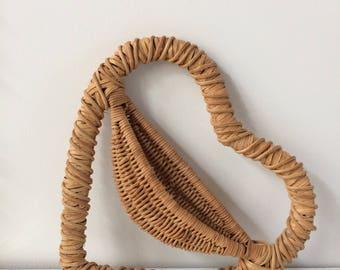 vintage woven heart basket / wall decor