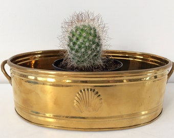 solid brass oval planter with seashell / Hollywood Regency