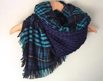 Blanket Scarf / Flannel Scarf / Blue Scarf / Plaid Scarf / Crochet Scarf / Infinity Scarf