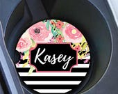 Pretty pink car coasters, Black white stripes with flowers, Floral car cup holder coasters, Unique gift for daughter, First driver (1777)