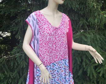 """Plus Size Boho Top 4X Cotton Tunic """"Summer Freedom"""" Collection Handmade Floral Lagenlook Breathe Clothing Oversize Top Unique Style 28 30"""