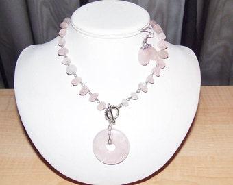 Pink Rose Quartz Necklace Set. Women's Necklace Set, Pink Necklace