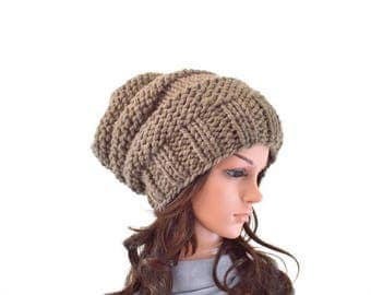SALE Chunky Extra Slouchy Hat Beanie Toque // The Arena // in Taupe