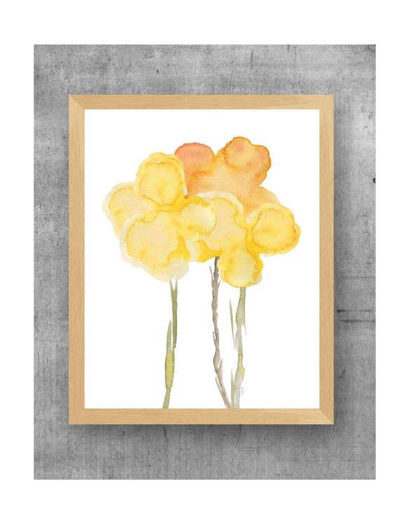 Yellow Flower Watercolor Print, 11x14