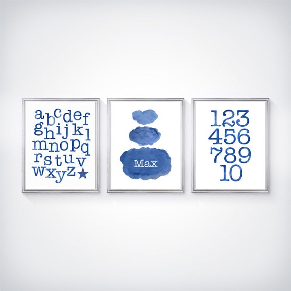 Navy ABC and Cloud Print Set, Set of 3 - 8x10 Personalized Prints
