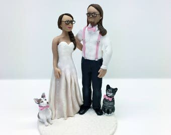Custom Bride and Groom with Pets Wedding Cake Topper from Your Ideas and Photos