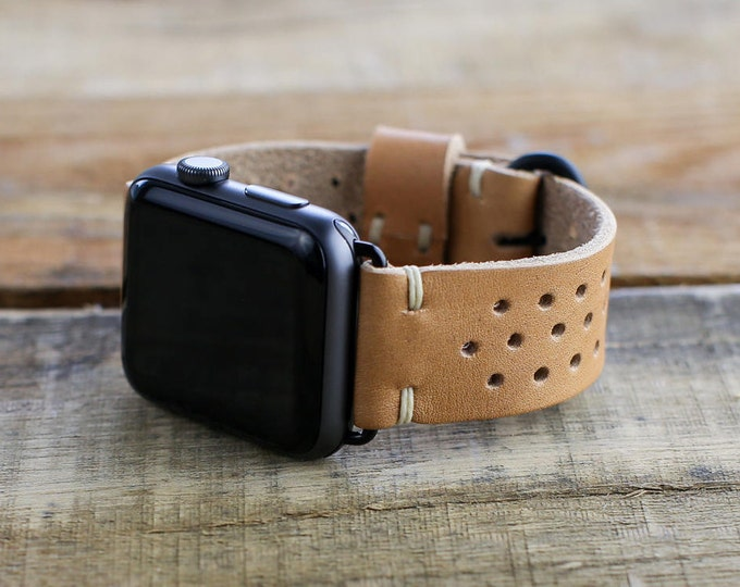Leather Apple Watch Band | 42mm 38mm iWatch | Series 1 + 2 Series 3 | Rally Style Apple Watch Strap | Horween Natural Essex Leather
