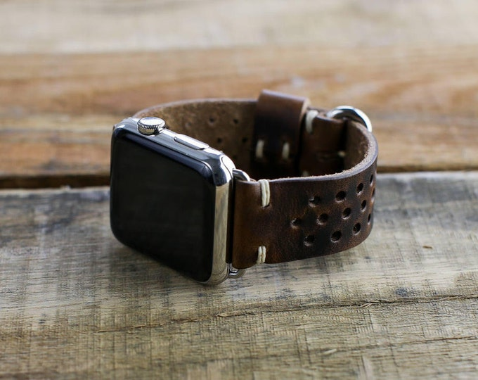 Leather Apple Watch Band | Rally Style Watch Strap | Horween Brown Nut Leather | Slide Hardware